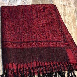 Pashmina Red and Black Fringe Scarf 28x77